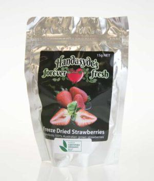 Bag of organic freeze dried strawberries